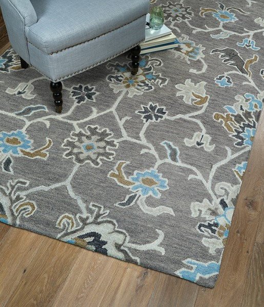 Grey, Light Blue, Brown (75) Traditional / Oriental Area Rug