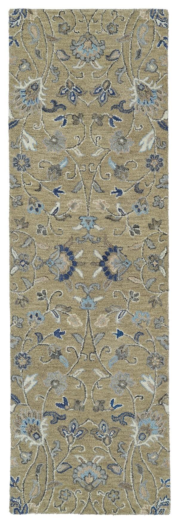 Light Brown, Denim Blue, Grey (82) Traditional / Oriental Area Rug