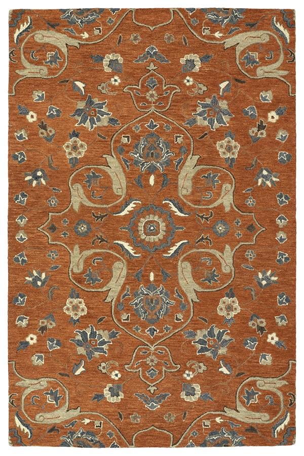 Paprika, Linen, Steel Blue, Mushroom (53) Traditional / Oriental Area Rug