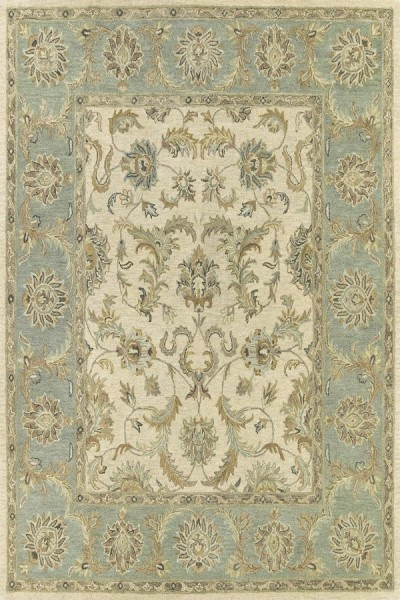 Ivory, Mint Green, Light Chocolate (01) Traditional / Oriental Area Rug