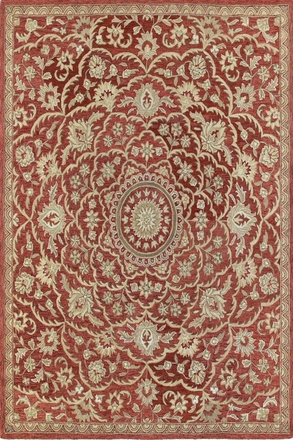 Red, Olive Green, Camel (25) Mandala Area Rug