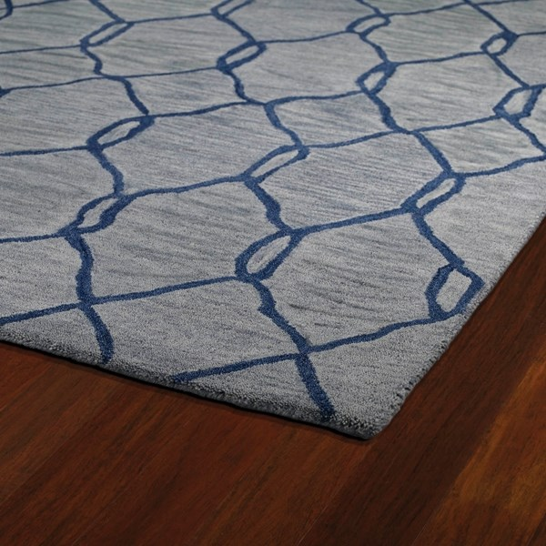 Light Blue, Navy (17) Moroccan Area Rug