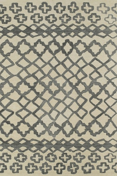 Charcoal Blue, Beige (75) Moroccan Area Rug