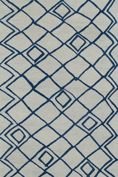 Ivory, Light Navy (01) Moroccan Area Rug