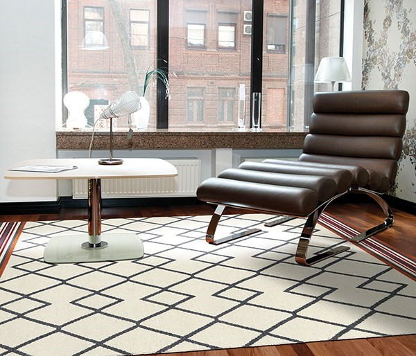 Ivory, Charcoal, Red (01) Southwestern / Lodge Area Rug