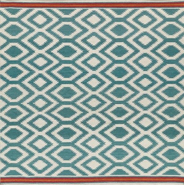 Turquoise, Ivory, Paprika (78) Southwestern / Lodge Area Rug