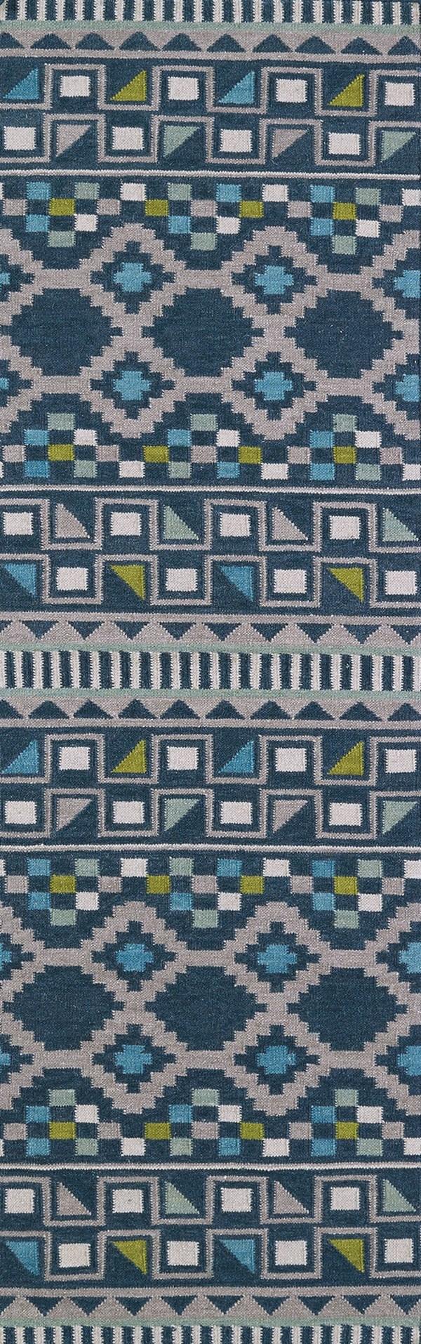 Blue, Wasabi, Grey (17) Southwestern / Lodge Area Rug