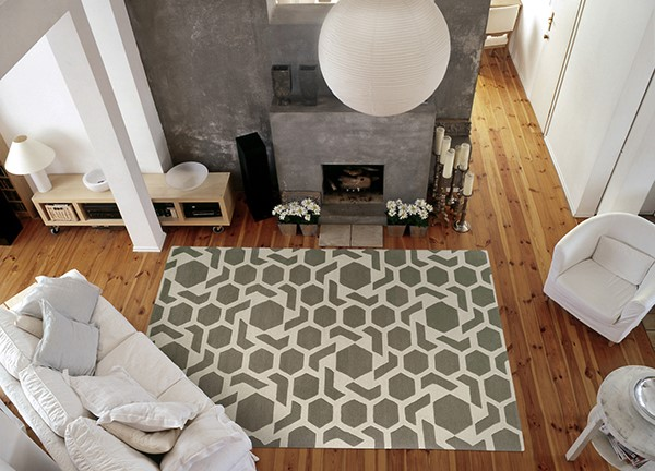 Grey, Ivory (75) Contemporary / Modern Area Rug