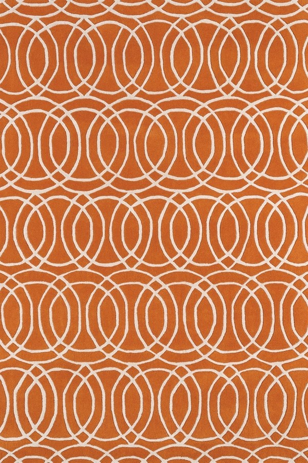 Orange, Ivory (89) Contemporary / Modern Area Rug