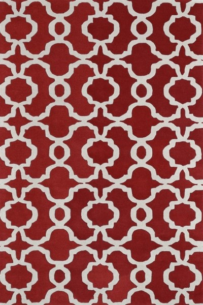 Red, Ivory (25) Contemporary / Modern Area Rug