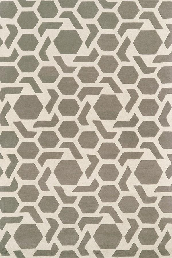 Grey, Ivory (75) Contemporary / Modern Area Rug