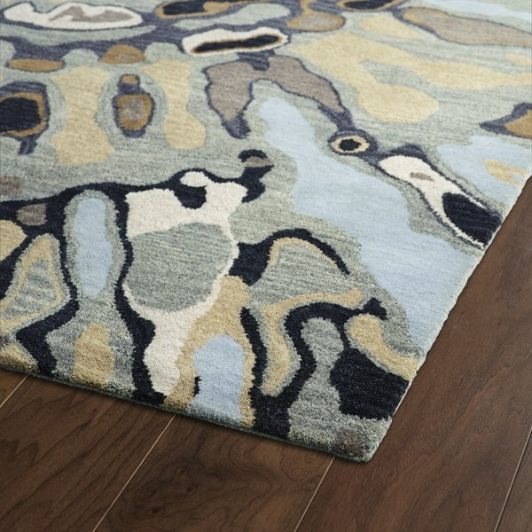 Brown, Sky Blue, Sand (86) Contemporary / Modern Area Rug