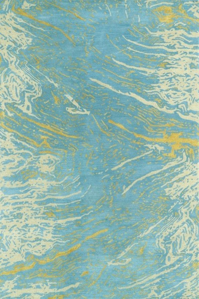 Blue, Light Gold, Beige (17) Contemporary / Modern Area Rug