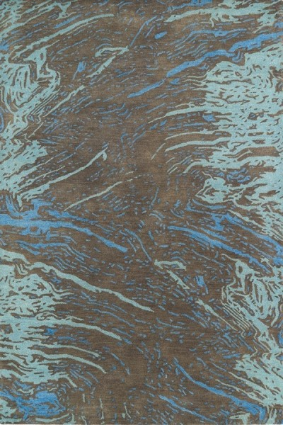 Chocolate, Denim Blue, Mint Blue (40) Contemporary / Modern Area Rug