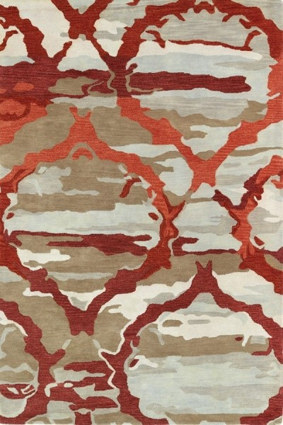 Red, Oatmeal, Light Brown (25) Contemporary / Modern Area Rug