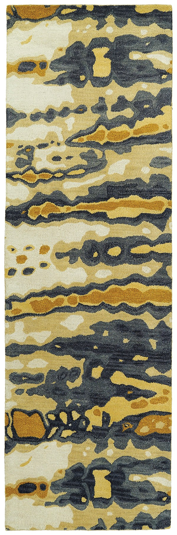 Gold, Charcoal, Beige (05) Contemporary / Modern Area Rug