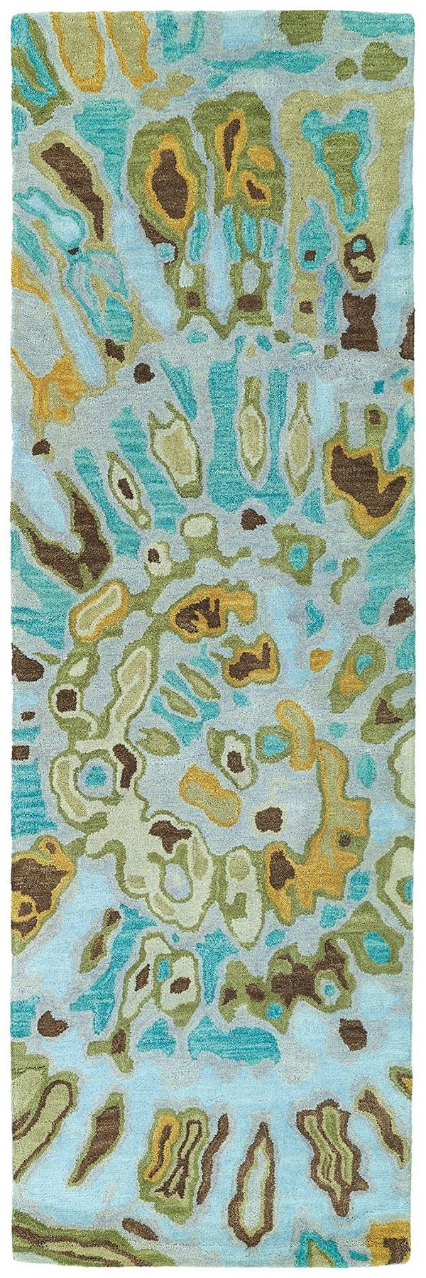 Teal, Chocolate, Mustard (91) Contemporary / Modern Area Rug