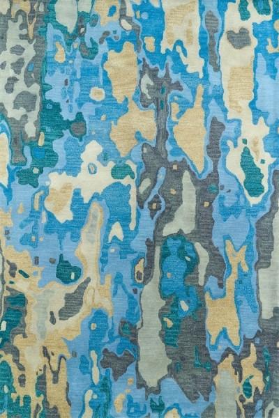 Blue, Grey, Camel (17) Contemporary / Modern Area Rug