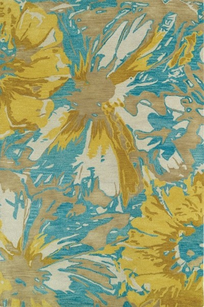 Gold, Turquoise, Light Brown (05) Contemporary / Modern Area Rug