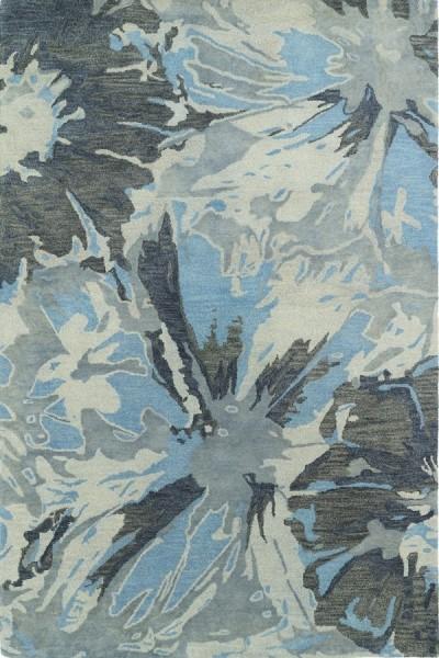 Grey, Sky Blue (75) Contemporary / Modern Area Rug