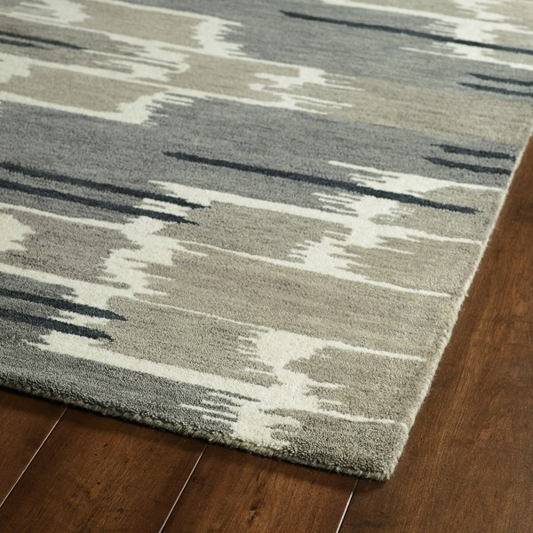 Grey, Charcoal, Ivory (75) Transitional Area Rug