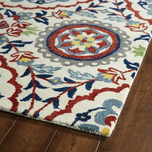 Ivory, Brick Red, Navy (01) Mandala Area Rug