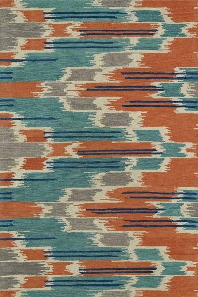 Turquoise, Orange, Grey (86) Transitional Area Rug