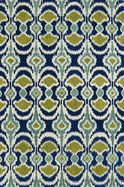 Blue, Wasabi Green, Ivory (17) Bohemian Area Rug