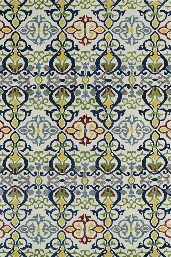 Green, Navy, Ivory (86) Transitional Area Rug