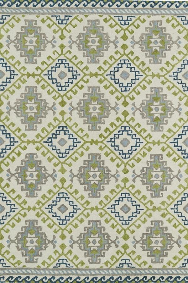 Ivory, Lime Green, Sky Blue (01) Southwestern / Lodge Area Rug