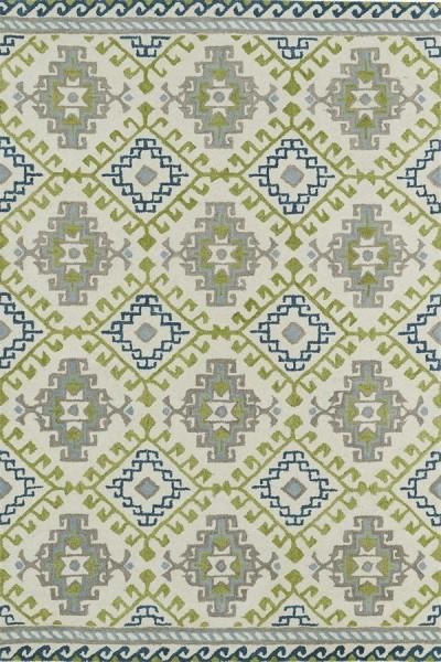 Ivory, Lime Green, Sky Blue (01) Southwestern Area Rug