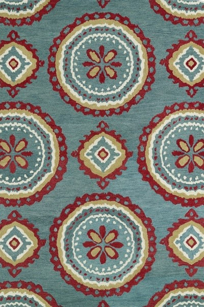 Teal, Brick Red, Ivory (91) Contemporary / Modern Area Rug
