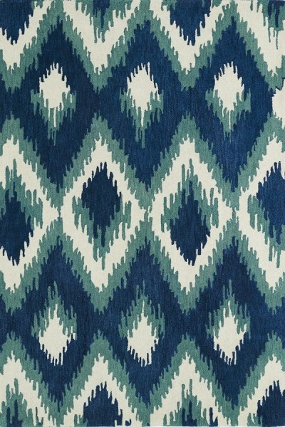 Blue, Turquoise, Ivory (17) Contemporary / Modern Area Rug