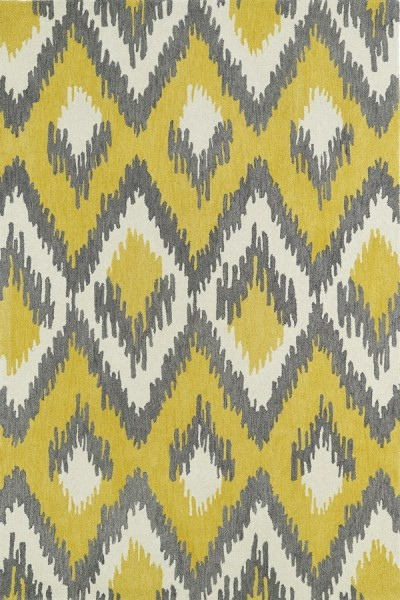 Yellow, Grey, Ivory (28) Contemporary / Modern Area Rug