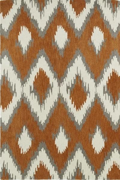 Paprika, Grey, Ivory (53) Contemporary / Modern Area Rug