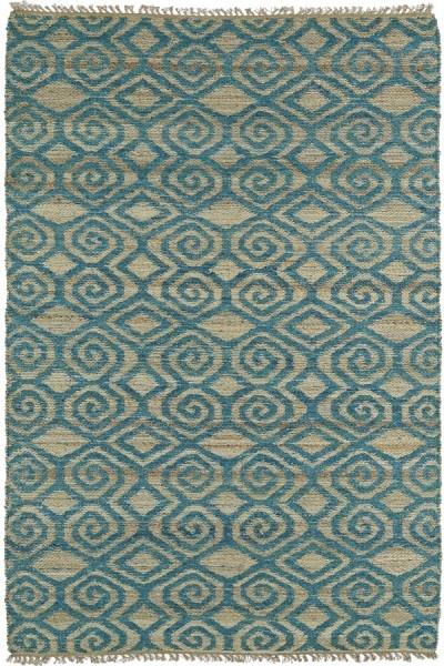 Teal, Natural Fiber (91) Contemporary / Modern Area Rug