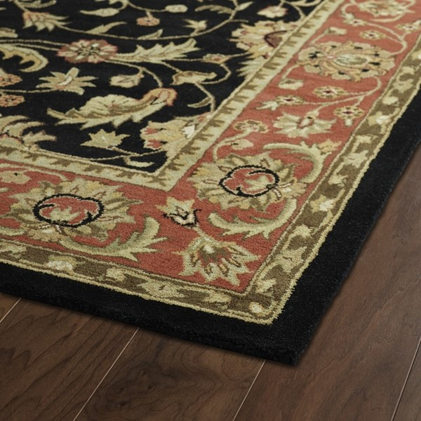 Black, Salmon, Olive Green (02) Traditional / Oriental Area Rug
