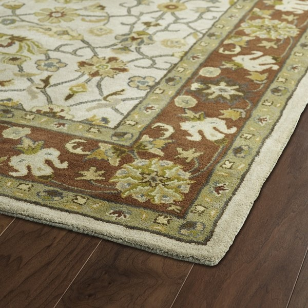 Ivory, Brown, Olive Green (01) Traditional / Oriental Area Rug