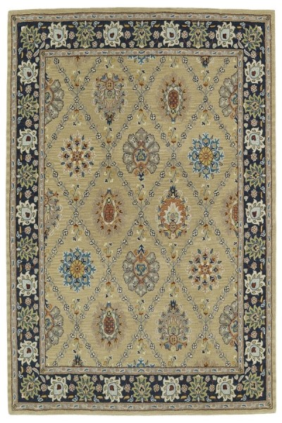 Gold, Navy, Beige (05) Traditional / Oriental Area Rug