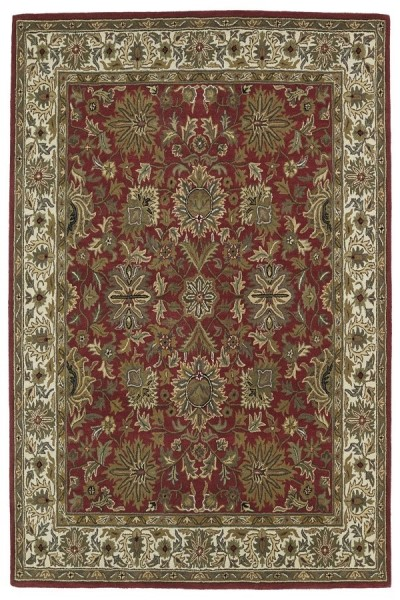 Red, Beige, Olive Green (25) Traditional / Oriental Area Rug