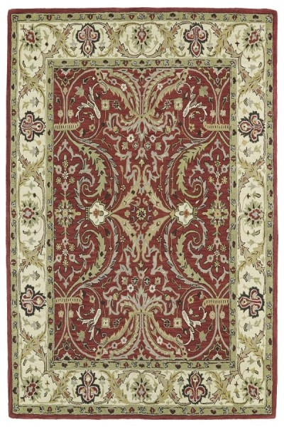 Red, Olive Green, Beige (25) Traditional / Oriental Area Rug