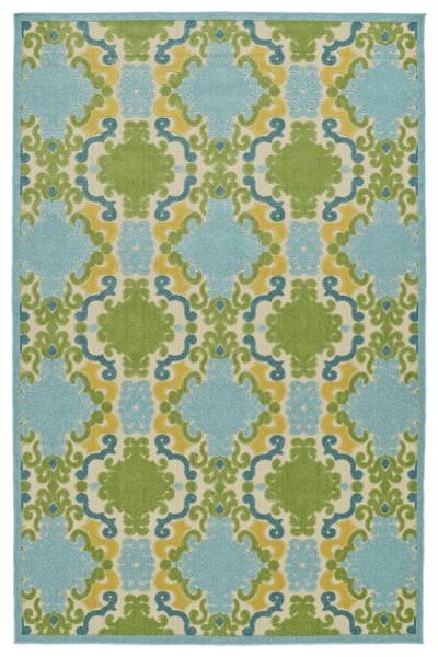 Blue, Gold, Green (17) Bohemian Area Rug