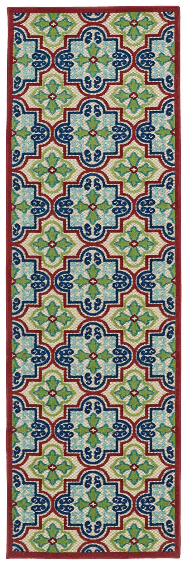 Red, Navy, Green (86) Moroccan Area Rug