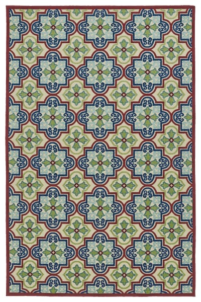 Red, Navy, Green (86) Contemporary / Modern Area Rug