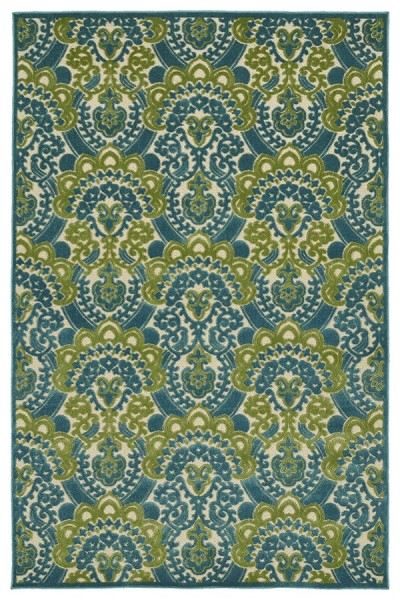 Light Blue, Green, Beige (17) Traditional / Oriental Area Rug
