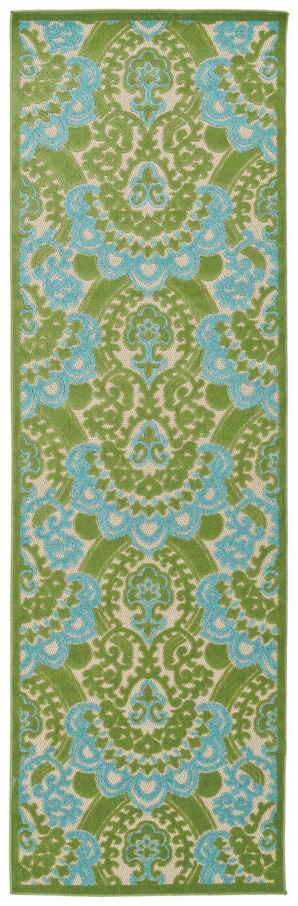 Green, Light Blue, Beige (50) Damask Area Rug