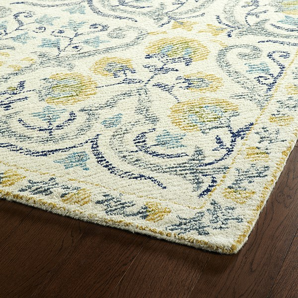 Ivory, Gold, Denim (01) Traditional / Oriental Area Rug