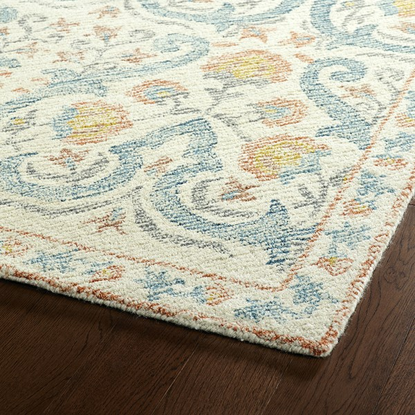 Ivory, Teal, Grey, Rose (91) Traditional / Oriental Area Rug