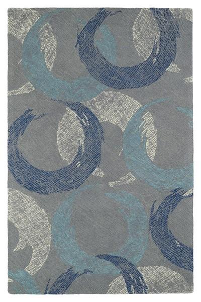 Grey, Ivory, Denim, Turquoise (75) Transitional Area Rug