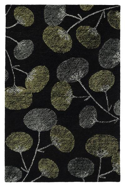 Black, Grey, Avocado (02) Floral / Botanical Area Rug